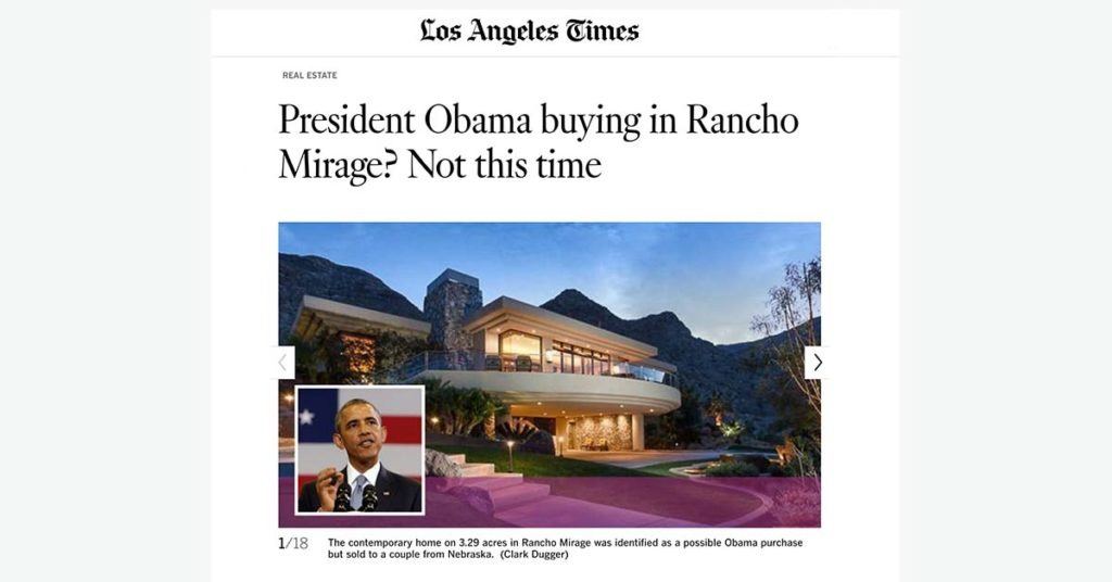 Ira Meltzer mention in LA Times: President Obama buying in Rancho Mirage?