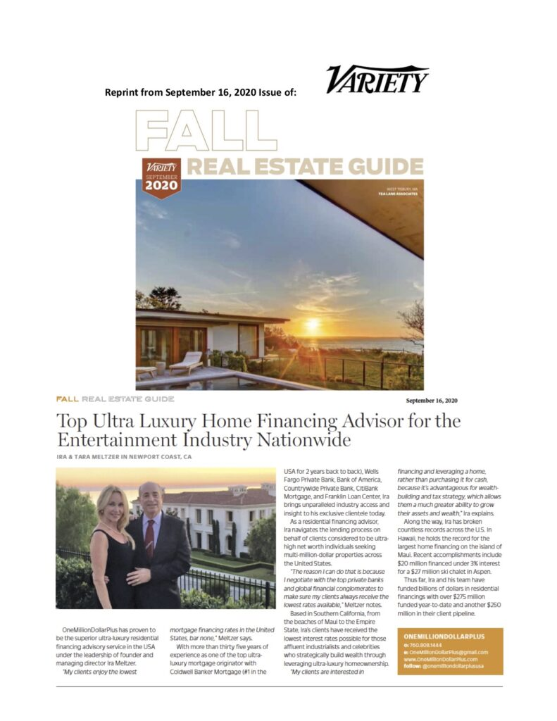 Variety: Top Ultra Luxury Home Financing Advisor for the Entertainment Industry Nationwide